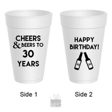 30th Birthday Cheers to Beers Styrofoam Cups