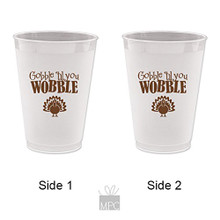 Thanksgiving Gobble Til You Wobble Turkey Frost Flex Plastic Cups