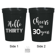 30th Birthday Cheers to 30 Years, Hello Thirty Black Stadium Plastic Cups