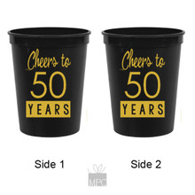 50th Birthday Cheers to 50 Years Black Stadium Plastic Cups