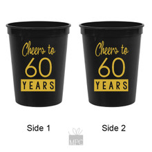 60th Birthday Cheers to 60 Years Black Stadium Plastic Cups