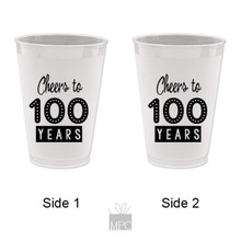 100th Birthday Cheers to 100 Years Frost Flex Plastic Cups