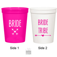Bachelorette Bride and Bride Tribe White and Pink Stadium Plastic Cups