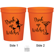 Halloween Drink Up Witches Martini Orange Stadium Plastic Cups
