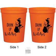 Halloween Drink Up Witches Cauldron Orange Stadium Plastic Cups
