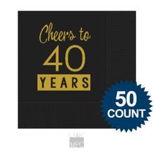 40th Birthday Napkins, Cheers to 40 Years