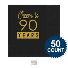 90th Birthday Napkins, Cheers to 90 Years