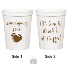 Thanksgiving Friendsgiving Feast White Stadium Plastic Cups
