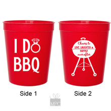 Wedding Engagement I Do BBQ Red Stadium Plastic Cups
