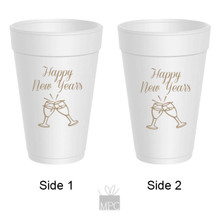 Happy New Year's Champagne Glasses Styrofoam Cups