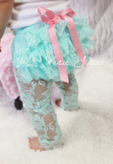 Aqua and Pink Lace Bloomer & Legging