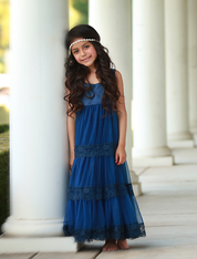 Navy Satin Sweetheart Dress