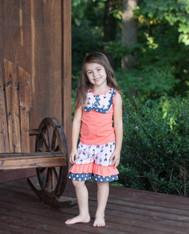 Coral & Gray Arrow Bib Outfit