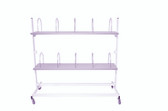 Packing station trolley with shelves & dividers H142cm x L154cm x D71cm
