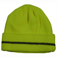 Lime Safety Beanie Hat with Reflective Stripe