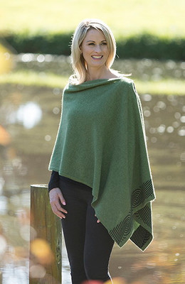 Swirl Wrap in Possum, Merino Wool & Silk by Native World in Meadow Green