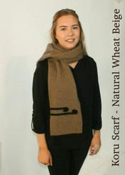 New Zealand Natural Clothing Possum Merino Silk Koru pattern Scarf. NZ Made.