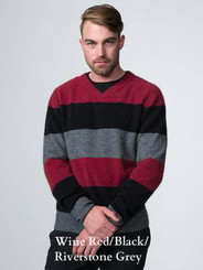 Wine Maroon / Black Riverstone Grey Block Stripe Jumper by possumdown