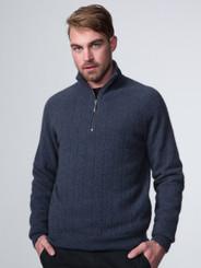 Wide rib zip collar sweater in possum and merino lambswool, in denim blue.