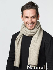 Natural Beige Cable Scarf by possumdown