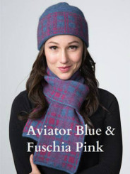 Tartan Scarf in double thickness possum and merino for double the warmth, in aviator blue and fuschia pink.