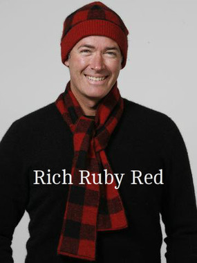 Ruby Red / Black Bush Check Scarf by possumdown