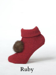 Luxury Lounge Sock with the cutest pompom in ruby red.