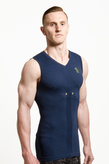 Sensoria FItness Cardio  T-shirt with Heart Rate sensors - color Blue - Side