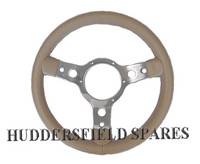 "Beige 13"" 3 Spoke Polished Steering Wheel for classic Mini"