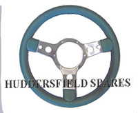 "Green 13"" 3 Spoke Polished Steering Wheel for classic Mini"