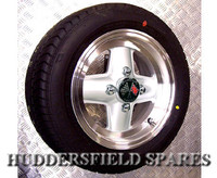 5x12 White (with a polished rim) Revolution 4 Spoke Alloy Wheel Package for Classic Mini