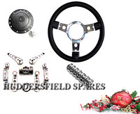 Steering wheel, boss, interiors handles & handbrake grip Classic Mini