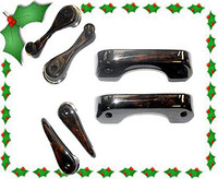 Full set of  deluxe Walnut door handles Classic Mini