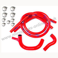 Red Austin Mini Coolant Silicone Hose Kit with clips
