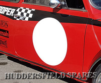 Round white door racing circle decal
