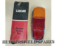 Early classic mini pick-up rear lens and shroud, new old stock. Lucas 558