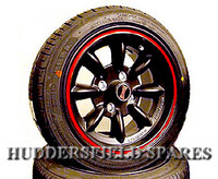 6x13 Ultralite Black and Red Satin Alloy Wheel Package for Classic Mini