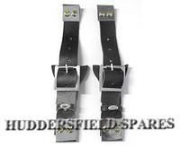Black Leather Bonnet Straps pair