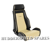 Cobra Cream and Black Signature Recliner Seats for Classic Mini