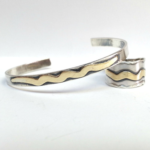 Squiggle Cuff Bracelet and Ring Set