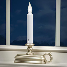 flameless window candle with pewter finish dual mode white flame