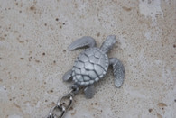 Big Blue Pewter Sea Turtle Keychain