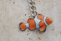Big Blue Pewter Clown Fish Keychain