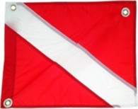 DIVE FLAG - 20 X 24 INCH RED NYLON W/STRINGER