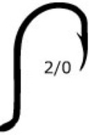 MUSTAD Beak Bait Hook Size 2/0 6 Pack 92568BLN