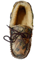 Weber's Adult Camoflage Leather Moccasins Timber / Tan Slippers Size 8