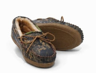 Weber's Adult Camoflage Leather Moccasins Break Up / Brown Slippers Size 4