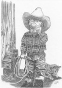 Sad Little Cowboy Pencil Sketch by Craig Cassell, a quadraplegic artist who draws with his mouth.