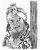 Little Girl Pencil Sketch by Craig Cassell, a quadraplegic artist who draws with his mouth.