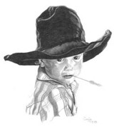 Little Cowboy Pencil Sketch by Craig Cassell, a quadraplegic artist who draws with his mouth.